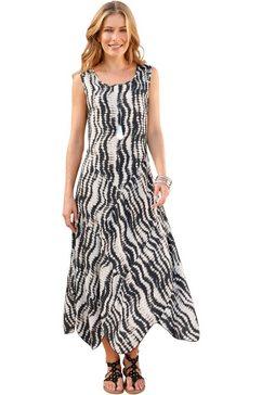 classic inspirationen jurk met expressieve batikprint beige