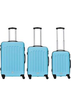 packenger trolleyset 'travelstar', 4 wieltjes, (3-delig) blauw
