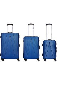 travel first trolleyset 'spacestar', 4 wieltjes, (set, 3-delig) blauw