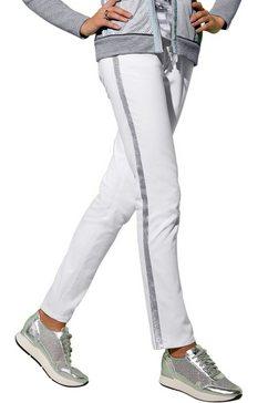création l jeans met fonkelende galonstrepen opzij wit