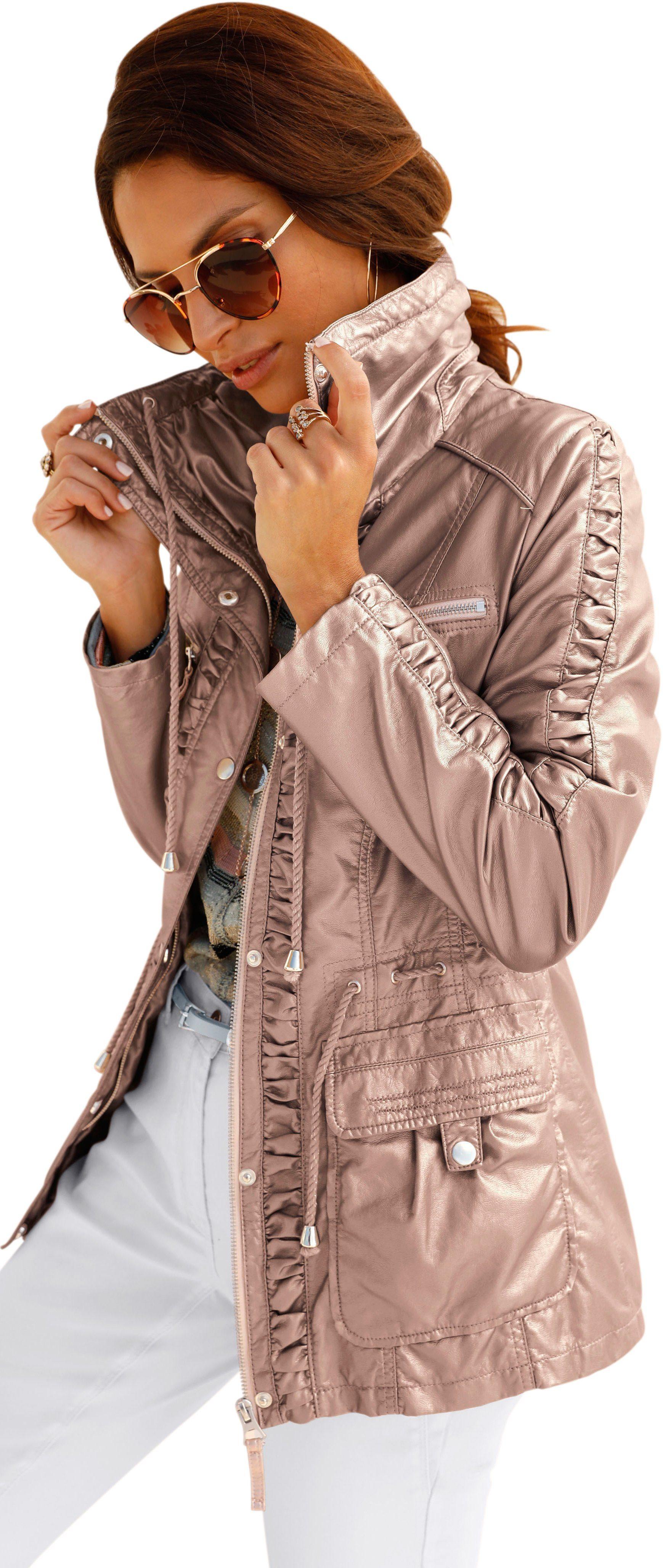 Mainpol imitatieleren jas met expressief glanzende coating in lichtpink metallic