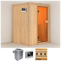 konifera sauna »linda«, 136x136x198 cm, 9 kw-kachel met externe bediening beige