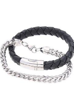 firetti armband set »glans, massief, gevlochten« (set, 2-delig) zwart