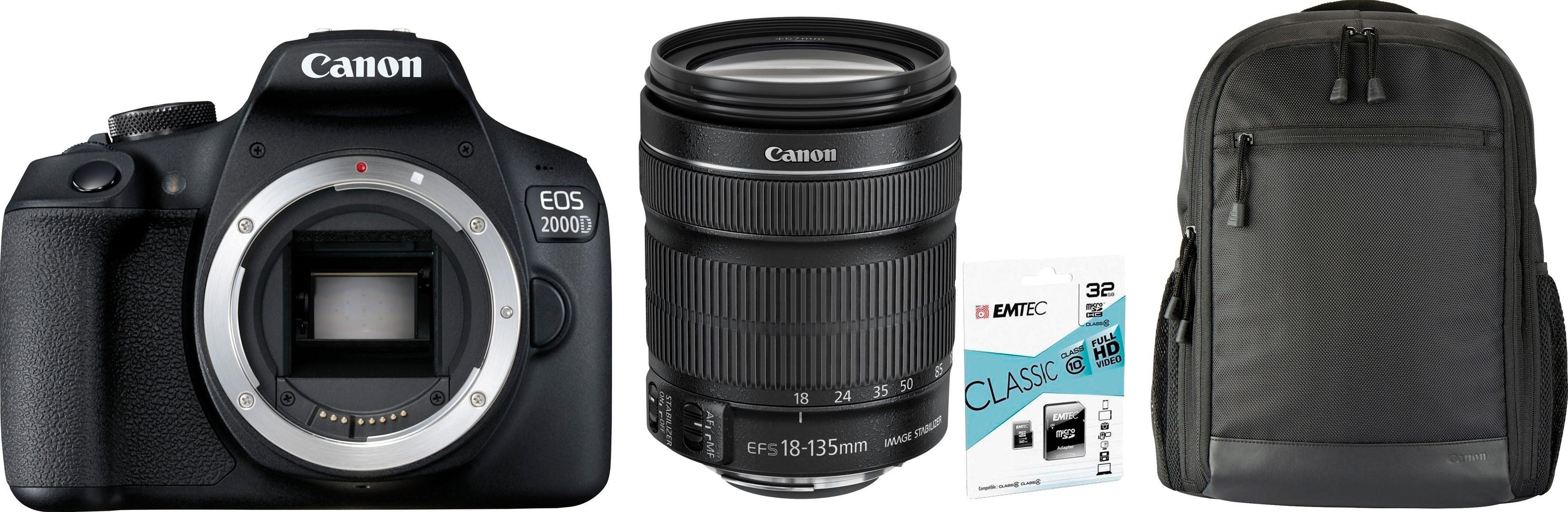 Canon »EOS 2000D EF-S18-135 Kit« spiegelreflexcamera (EF-S 18-135mm 1:3,5-5,6 IS STM, 24,1 MP) - gratis ruilen op otto.nl