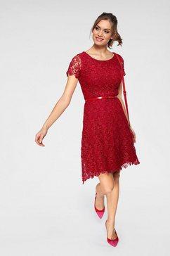 guido maria kretschmer kanten jurk rood