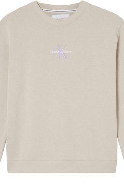 calvin klein sweatshirt monogram logo crew neck met calvin klein jeans logo-opschrift  monogram borduursel beige