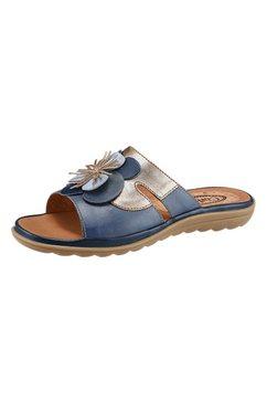 corkies slippers met sierbloem en contrastnaden blauw