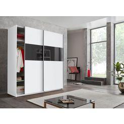 wimex zweefdeurkast »bramfeld« met elementen van glas en extra planken wit