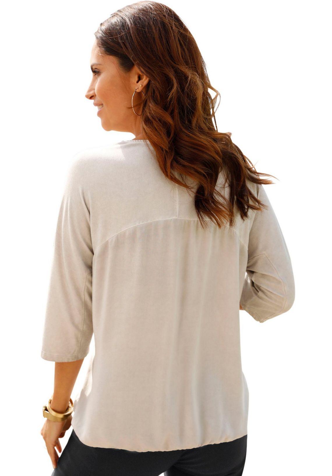 Classic Inspirationen Shirtblouse Met Fonkelende Glinstersteentjes En Goudkleurige Folieprint Snel Gevonden Beige/zwart Gedessineerd 8hjzSyAu