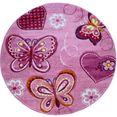 paco home vloerkleed voor de kinderkamer diamond 642 korte pool, 3d-kinderen vlinder harten design, kinderkamer roze
