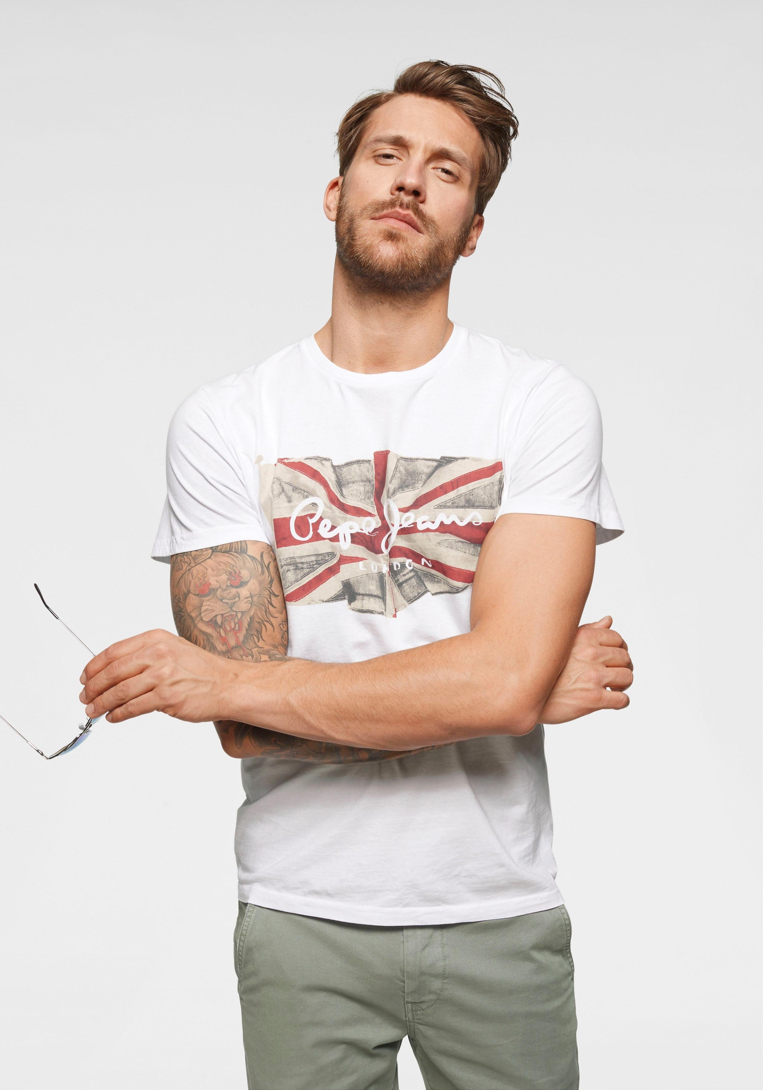 Pepe Jeans T-shirt »FLAG LOGO« goedkoop op otto.nl kopen