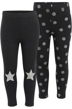 kidsworld legging met glitterprint (set, 2-delig) zwart