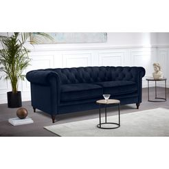 premium collection by home affaire chesterfield-bank chambal met klassieke capitonnage blauw