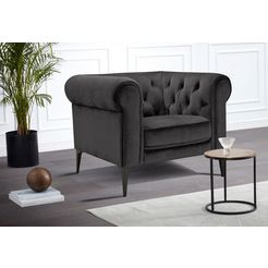 premium collection by home affaire chesterfield-fauteuil »tobol« grijs
