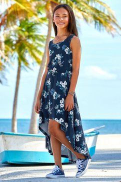 arizona jurk, voor kort en achter lang met leuke bloemenprint blauw