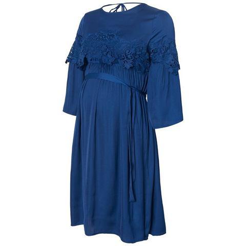 Mama Licious Geweven met kant gedetailleerde Korte Zwangerschapsjurk blauw