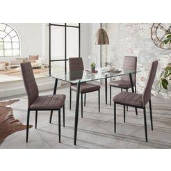 eethoek »danny« met tafel en 4 stoelen beige