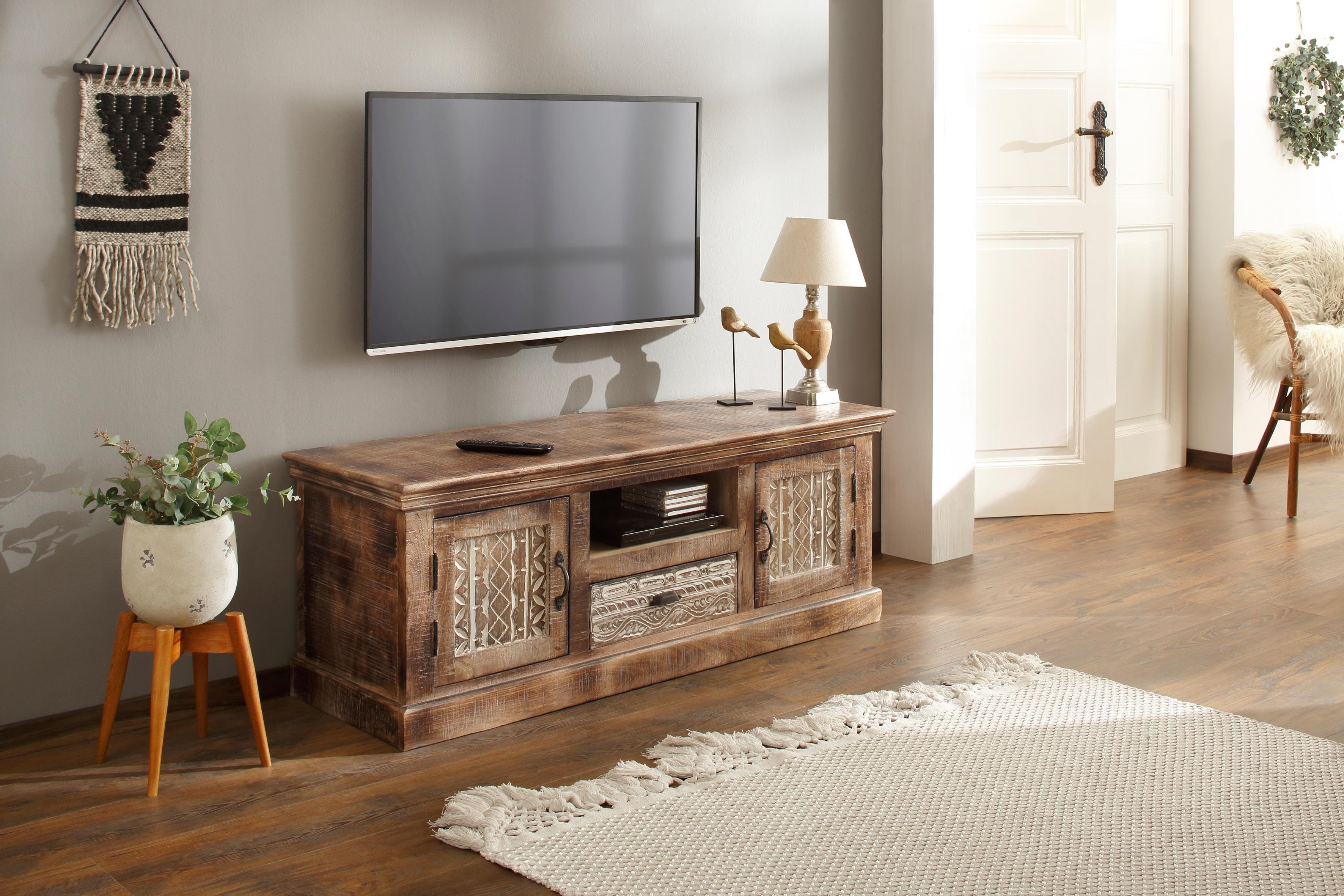 Home affaire tv-meubel Maneesh van mooi massief mangohout en met vele opbergmogelijkheden, breedte 135 cm bestellen: 30 dagen bedenktijd