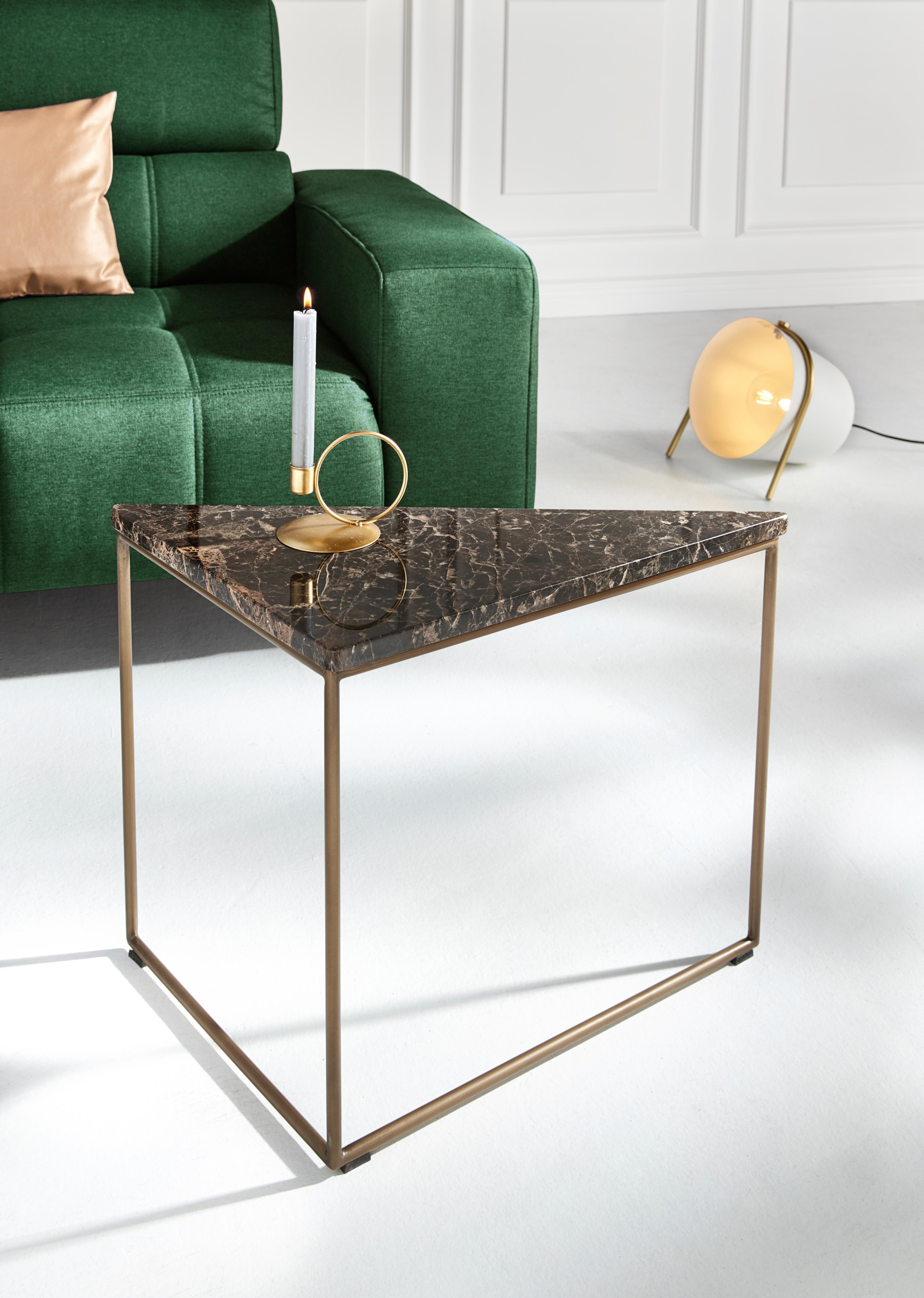 Inosign salontafel »Steph«, mit schöner Mamortischplatte und Metallbeinen aus gebürstetem Messing bij OTTO online kopen