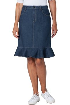 ambria jeansrok met trendy volant onderlangs blauw