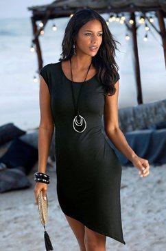 lascana party-jurk met een asymmetrische zoom zwart