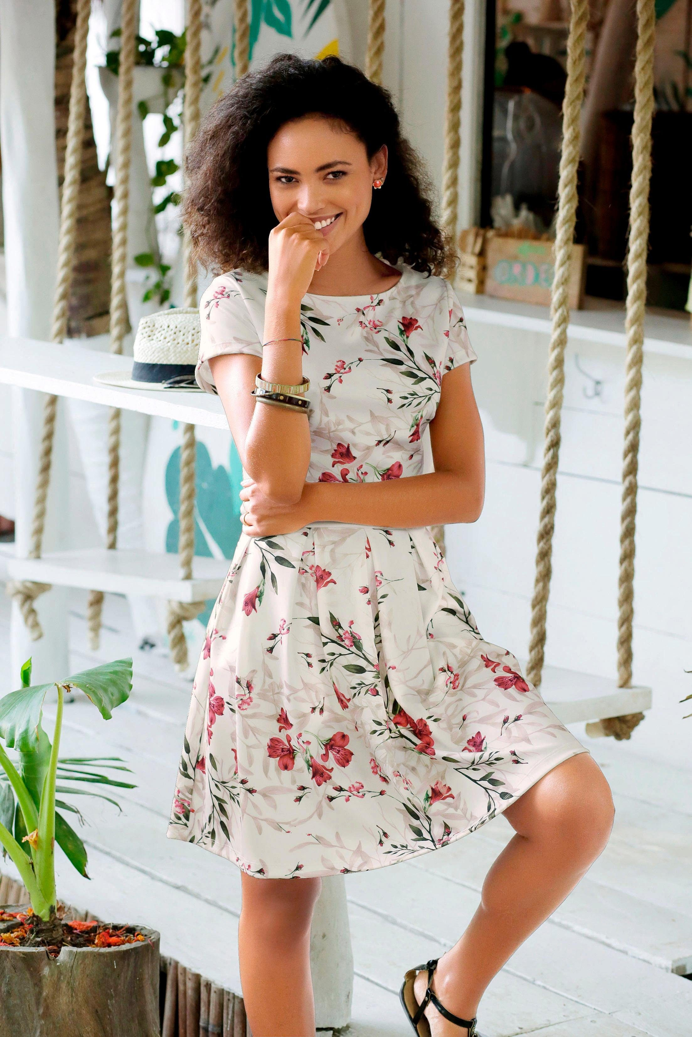 Lascana Scuba-jurk Met Bloemmotief In De Online Shop - Geweldige Prijs