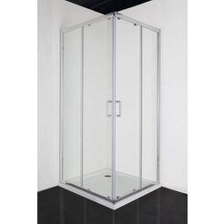 hoekdouche »elite«, douchecabine met antikalklaag, bxd: 90 x 90 cm zilver