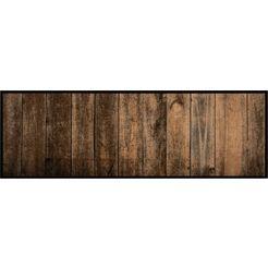zala living keukenloper wood geschikt voor binnen en buiten, wasbaar bruin