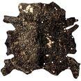 kayoom vachtvloerkleed glam 110 echte runderhuid, woonkamer zwart