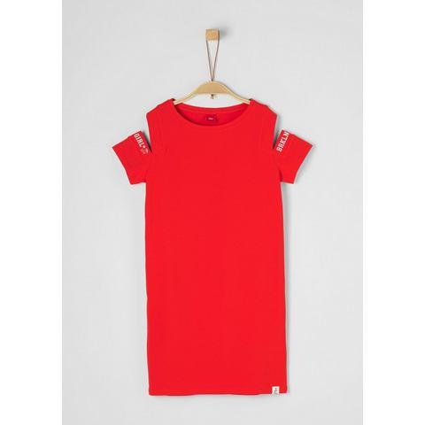 NU 15% KORTING: s.Oliver RED LABEL Junior Cold shoulder jurk met print voor meisjes