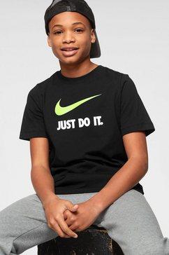 nike sportswear t-shirt »boys nike sportswear tee just do it swoosh« zwart
