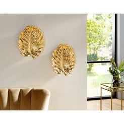 leonique wandkaarsenhouder »leaf« goud
