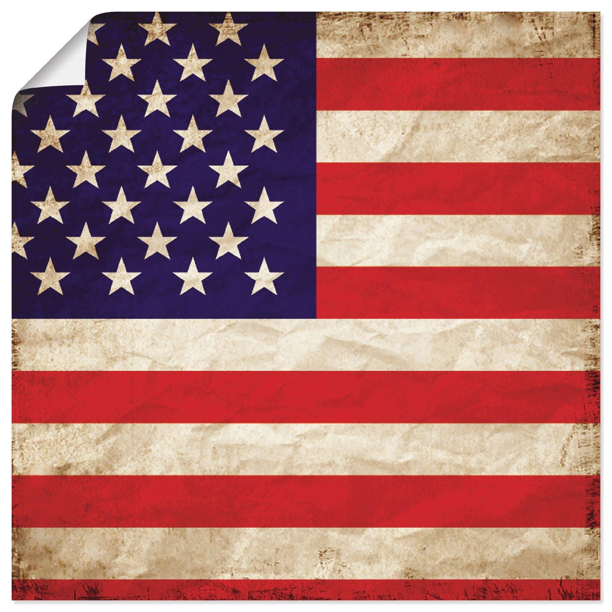 Artland artprint VS Amerikaanse vlag in vele afmetingen & productsoorten - artprint van aluminium / artprint voor buiten, artprint op linnen, poster, muursticker / wandfolie ook geschikt voor de badkamer (1 stuk) - verschillende betaalmethodes