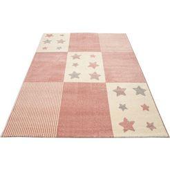 luettenhuett vloerkleed voor de kinderkamer tilly motief sterren, pastelkleuren roze