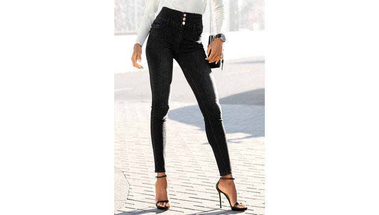 Lascana high-waist jeans met goudkleurige knopen