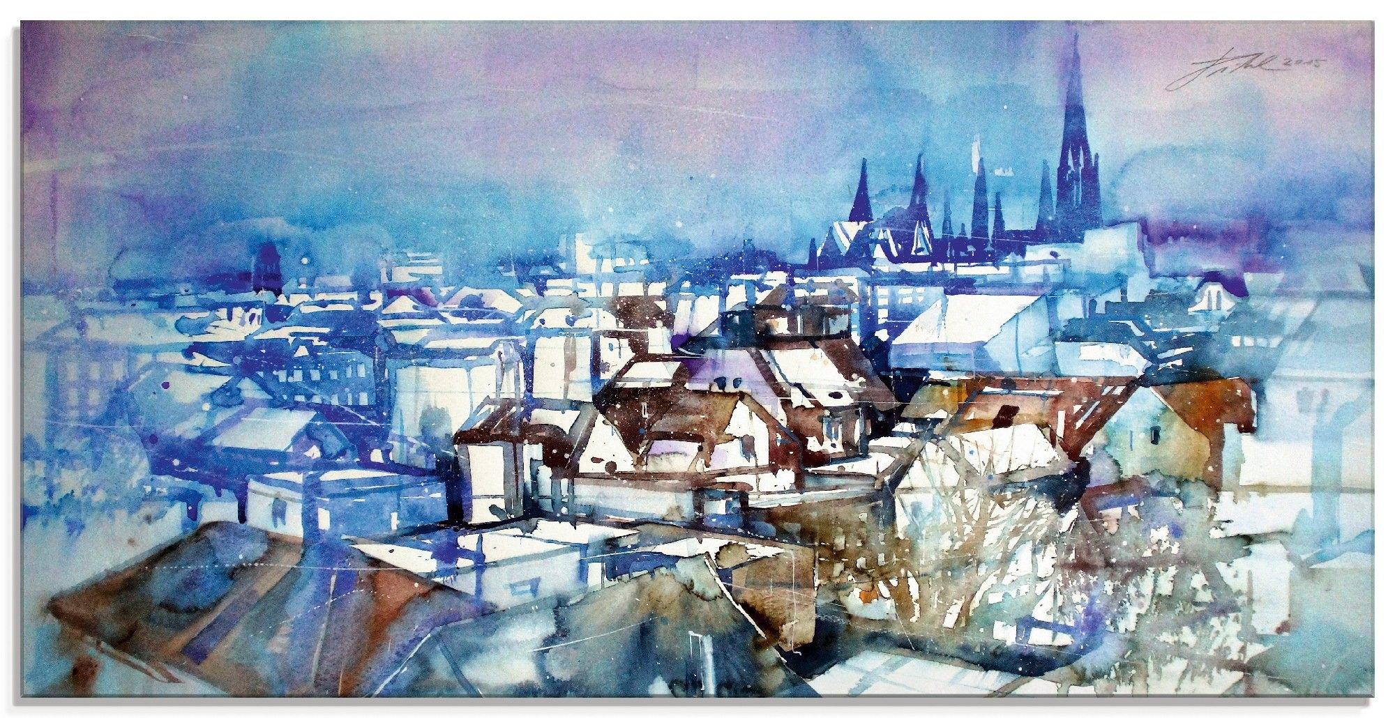 Artland print op glas Oldenburg, daklandschap (1 stuk) voordelig en veilig online kopen
