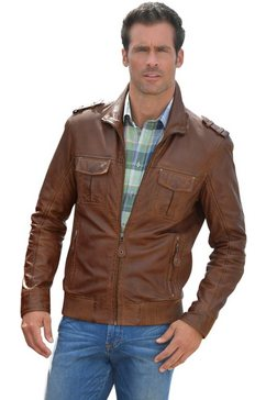 classic leren jasje met een platte kraag bruin