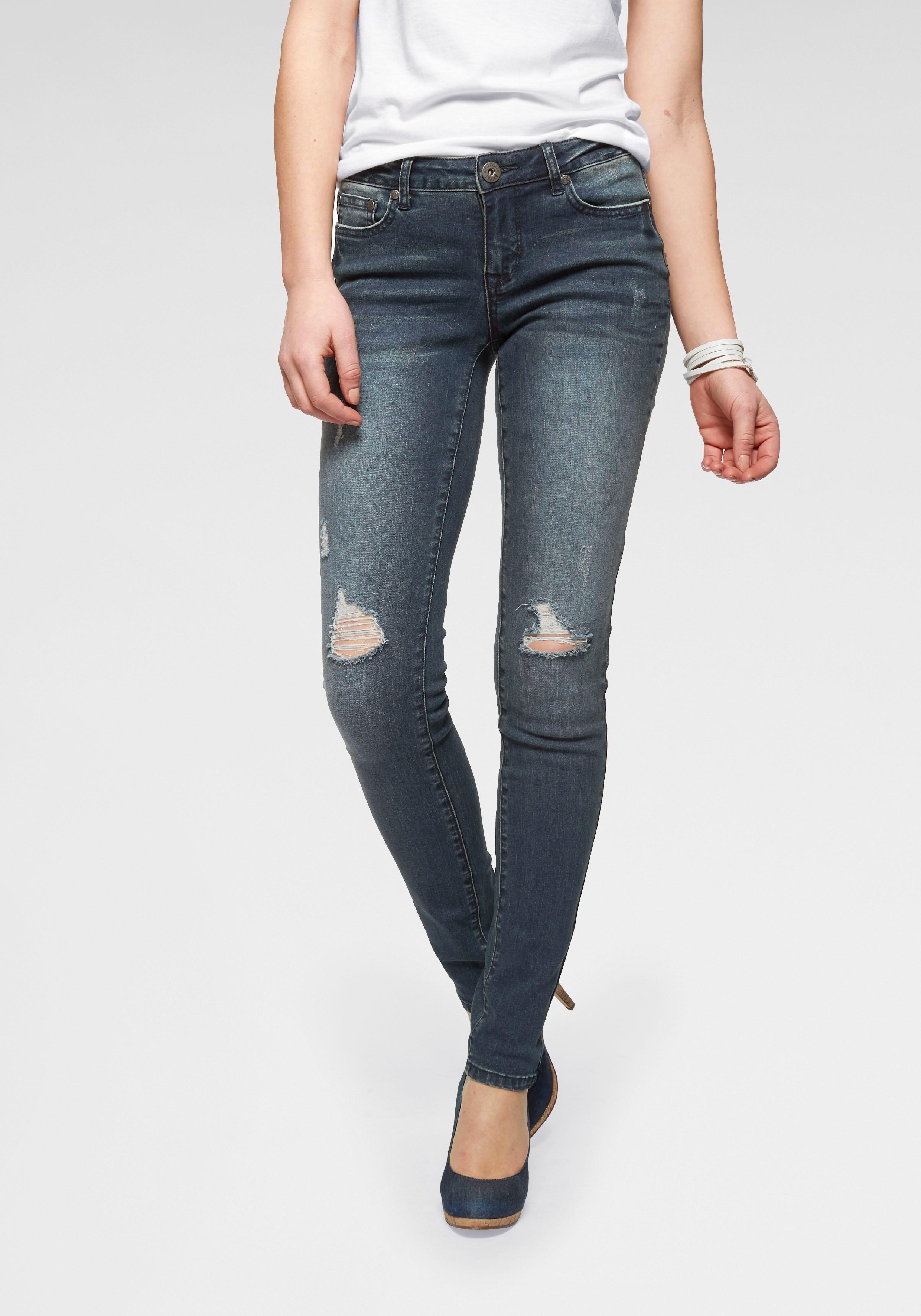 ARIZONA slim fit jeans »met destroyed-effecten« nu online kopen bij OTTO