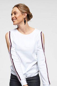 arizona sweatshirt met cold shoulder en rijgkoord met cold shoulders wit