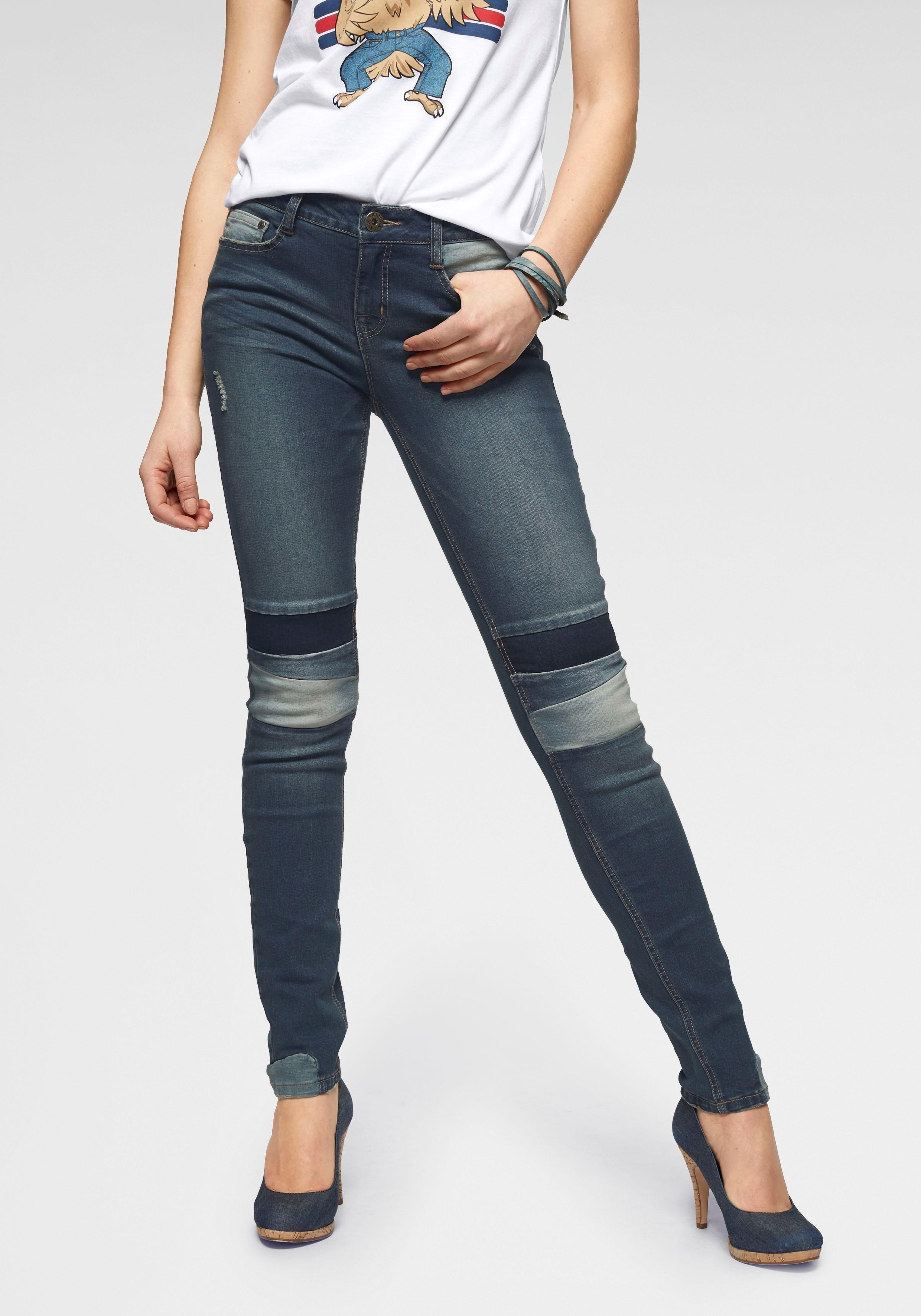 ARIZONA slim fit jeans »in patchwork-look« nu online bestellen
