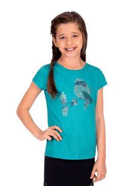 trigema t-shirt met glittervogel groen