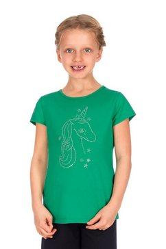 trigema t-shirt met glitter-eenhoorn groen