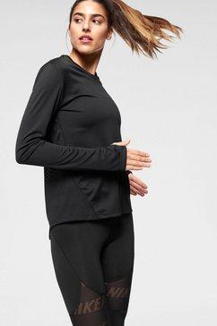 nike runningshirt »w nk miler top ls« zwart