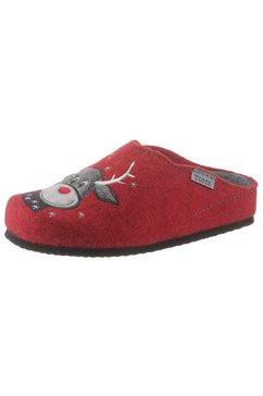 tofee pantoffels met winters elandmotief rood