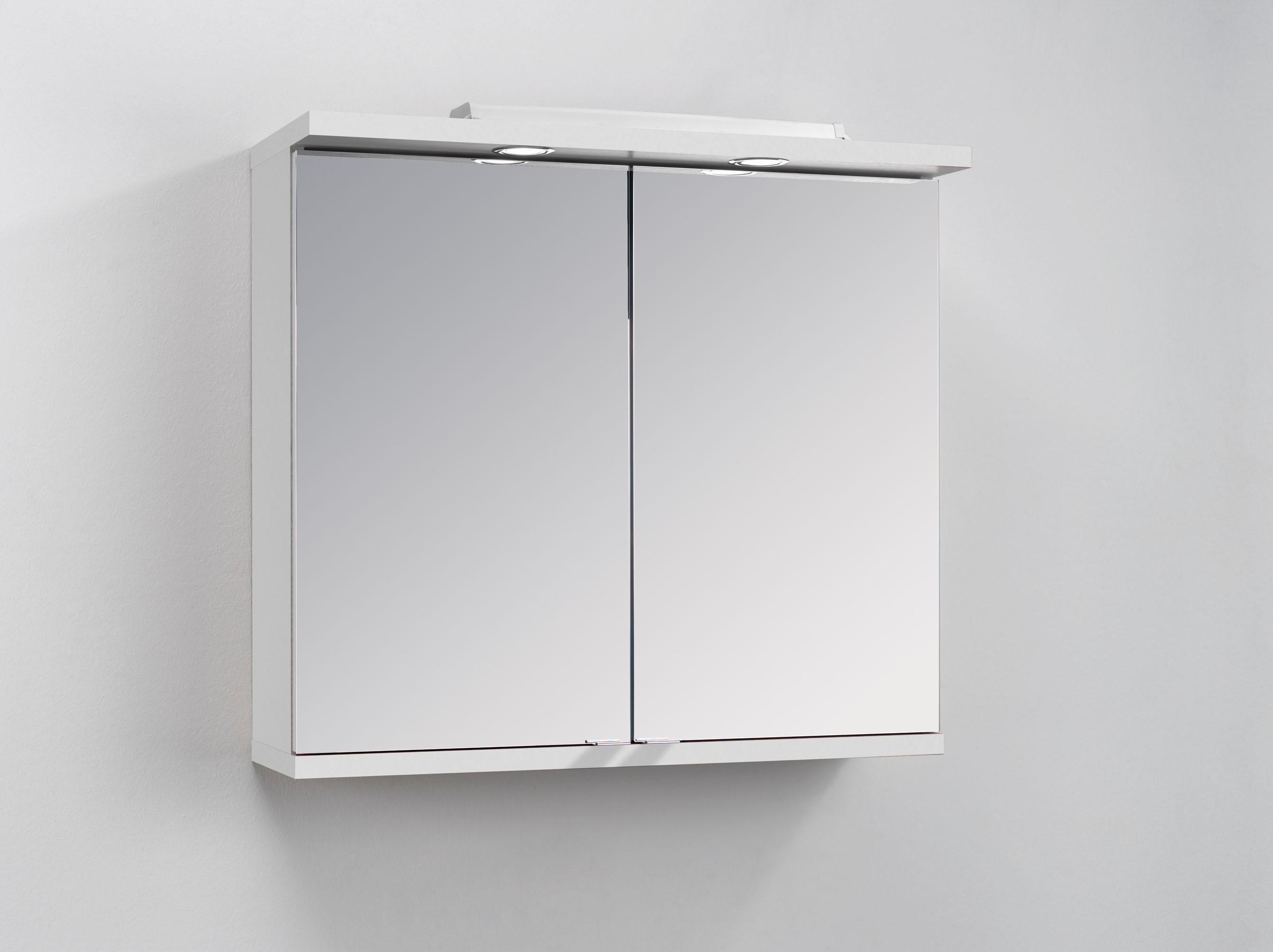 Homexperts spiegelkast Nusa Breedte 80 cm, met ledverlichting en schakelaar-stopcontactbox, achter de spiegeldeuren praktische legplanken - verschillende betaalmethodes