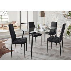 eethoek »danny« met tafel en 4 stoelen zwart