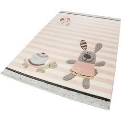 vloerkleed voor de kinderkamer, »happy friends«, sigikid, rechthoek, hoogte 13 mm, machinaal geweven roze