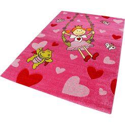 vloerkleed voor de kinderkamer, »pinky queeny«, sigikid, rechthoek, hoogte 13 mm, machinaal geweven roze