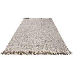 wollen vloerkleed, »lasse«, wohnidee, rechthoekig, hoogte 18 mm, met de hand geweven grijs