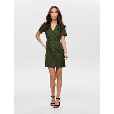 ONLY Knoopdetail jurk met korte mouwen groen